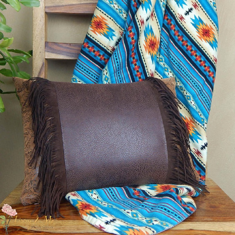 Faux Leather Fringe Pillow