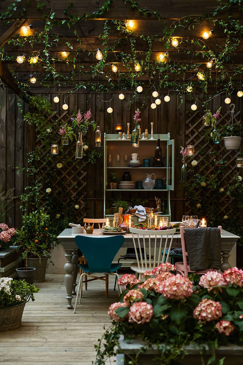 Garden Grotto With String Lights