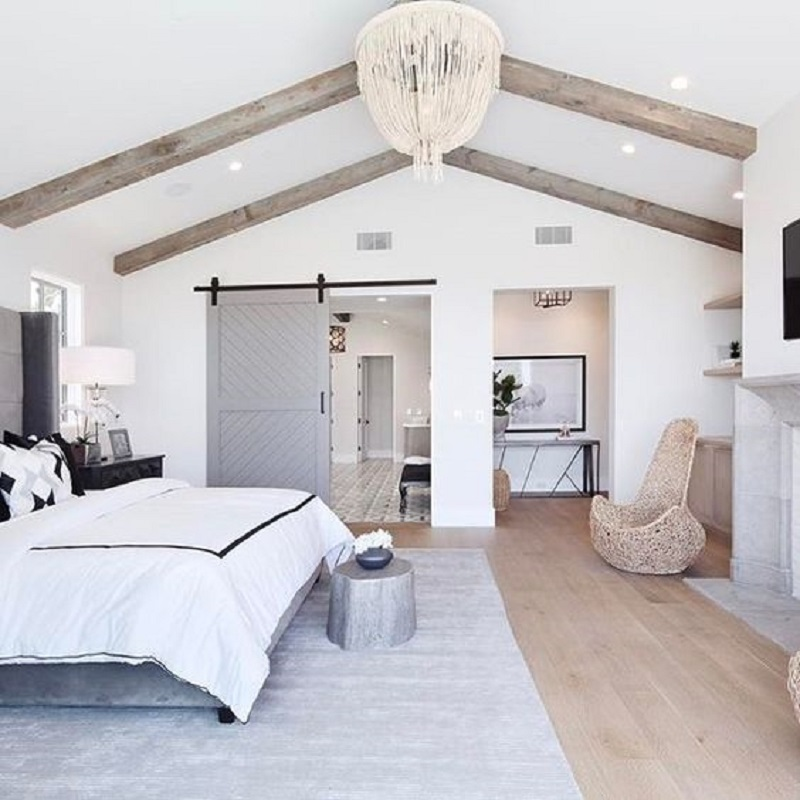 Grey Barn Door Bedroom