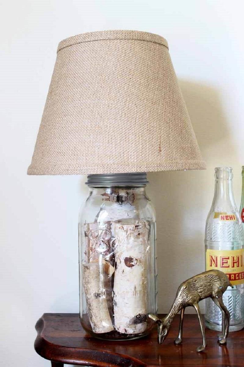 Mason Jar Log Lamp