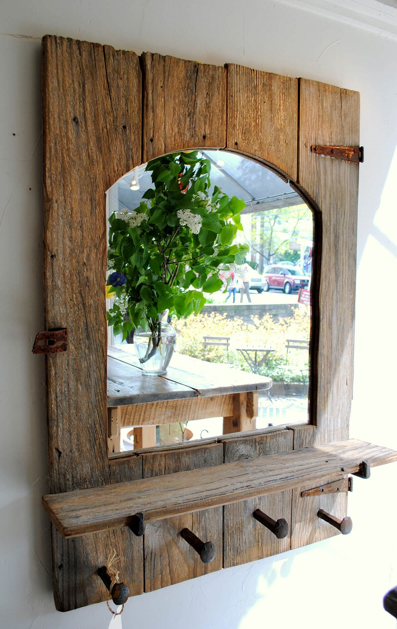 Old Barn Shutter With Mirror
