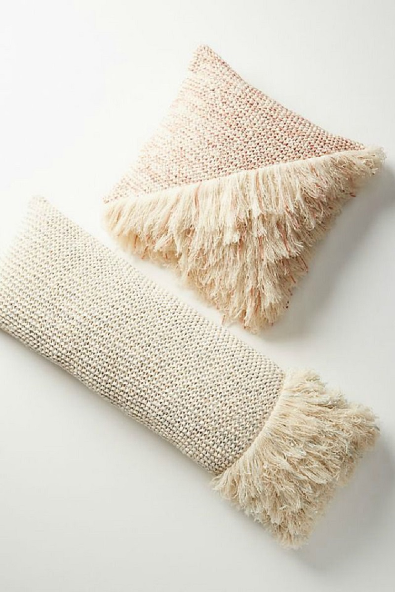 Waffle Knit And Fringe Pillow