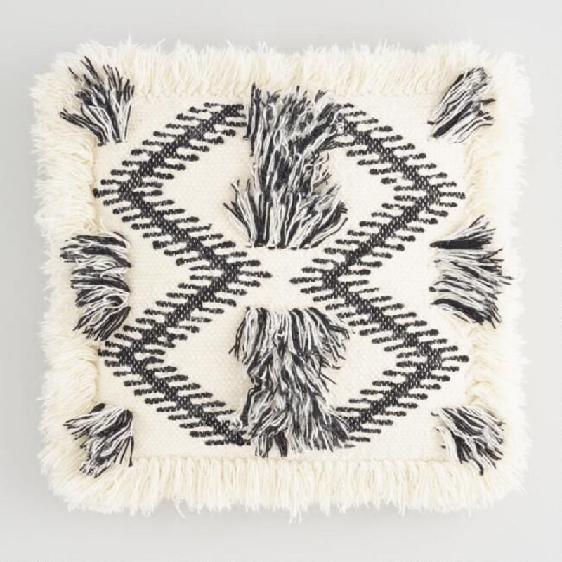 Woven Black And White Fringe Pillow