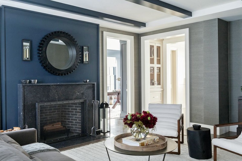 Black Marble Rivets Fireplace