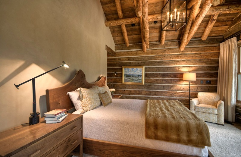 Mountain Cabin Bedroom Decor With A Live Edge Headboard