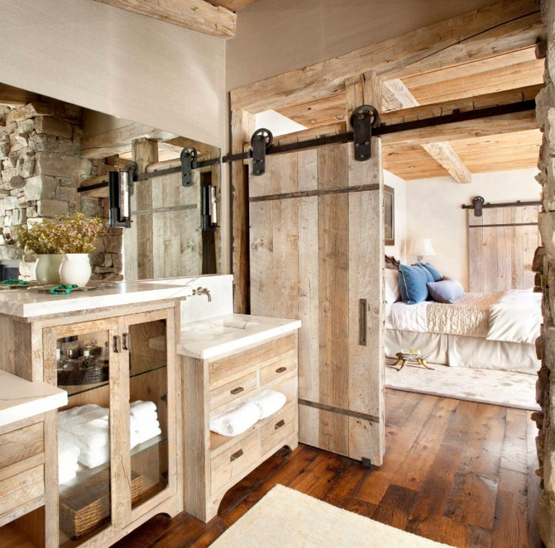 Rustic Bathroom With Barn Door