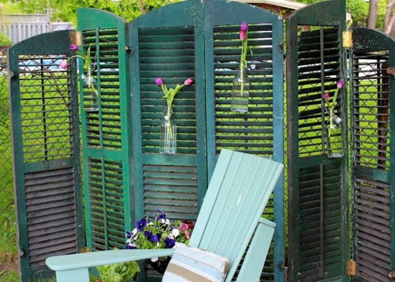 Shutter Privacy Screen From Old Windows