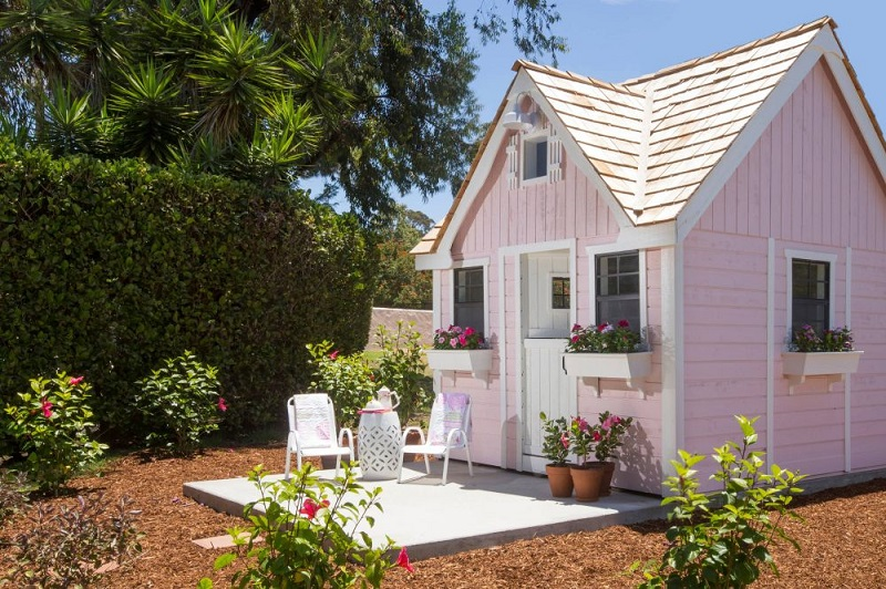 Soft Pink Tiny House Exterior