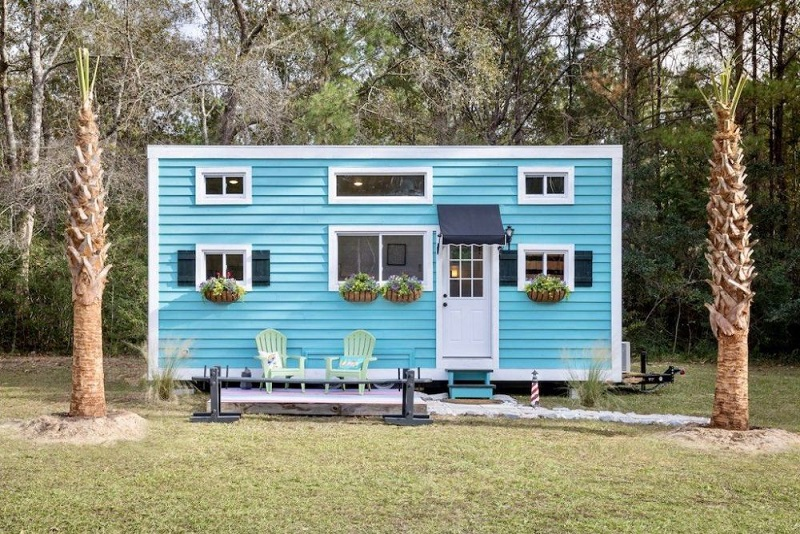 Tiny House With Turquoise Exterior