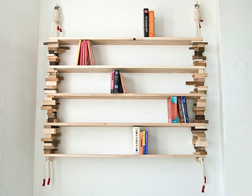 Waste Wood Blocks And Rope Bookshelves