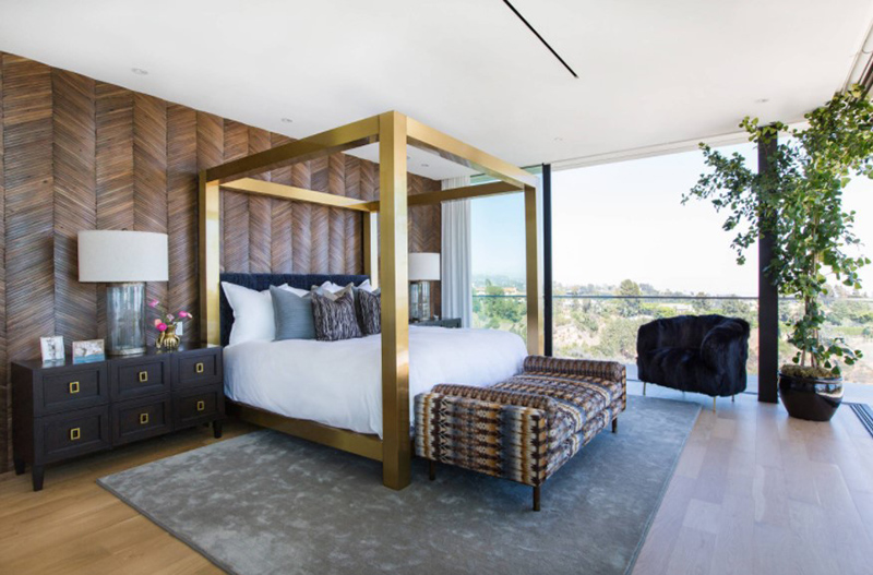 Bedroom With Wooden Accent Wall
