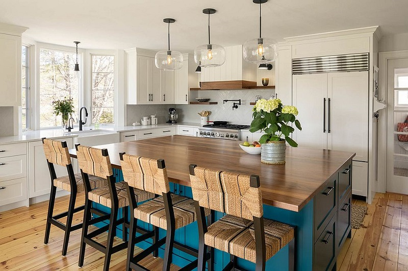 Custom Blue Island For The Beach Style Kitchen In White