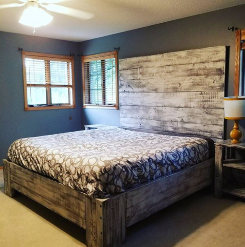 Dark Wood Platform Bed