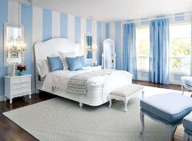 Light Blue Striped Color Wall