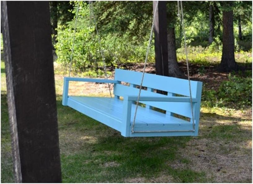 Simple Blue Porch Swing