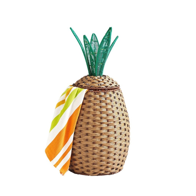 Wicker Pineapple Pool Storage Basket