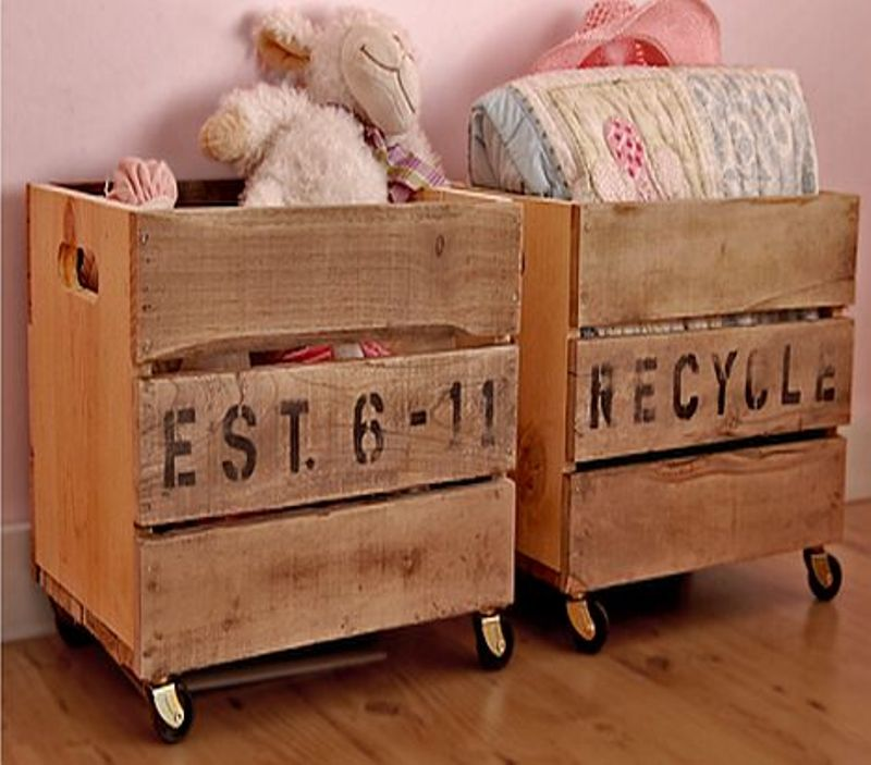 Vintage Crates On Wheels