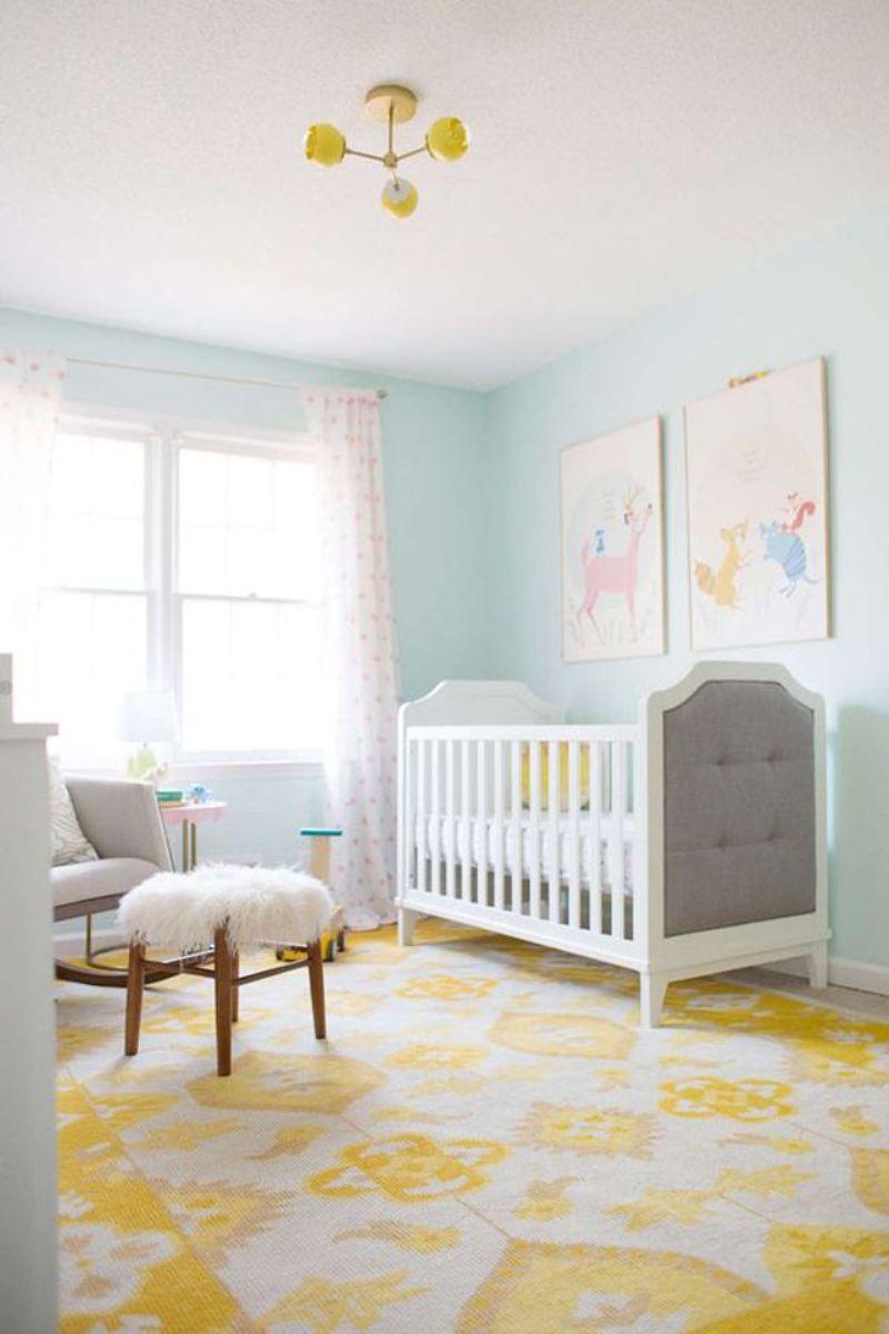 Aqua And Yellow Nursery Room