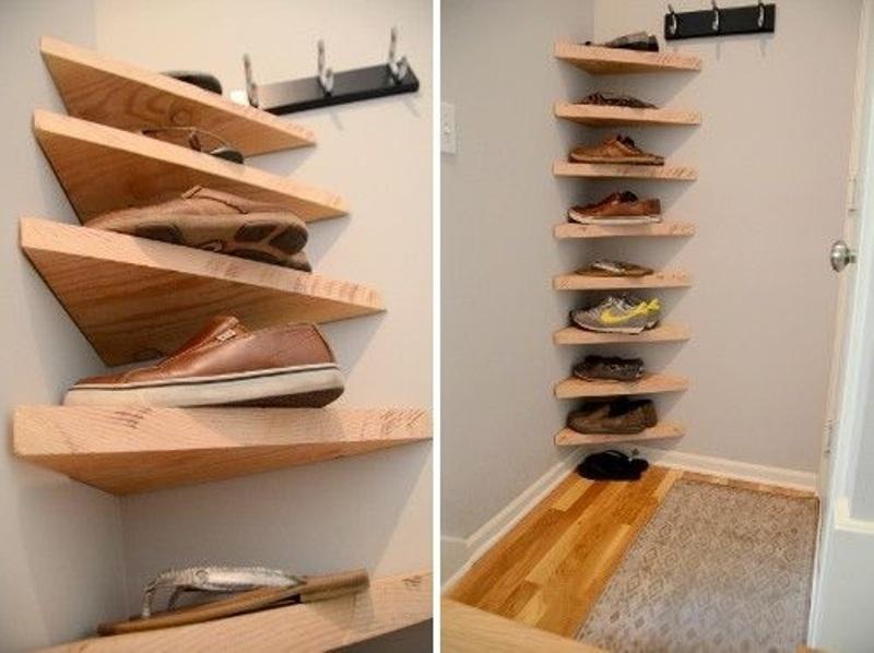Corner Wood Shoe Storage