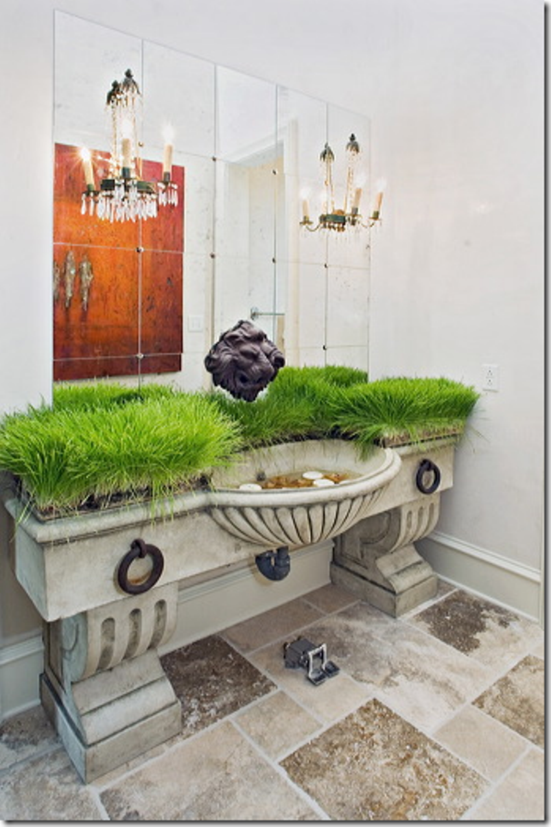 Powder Room With Greenery