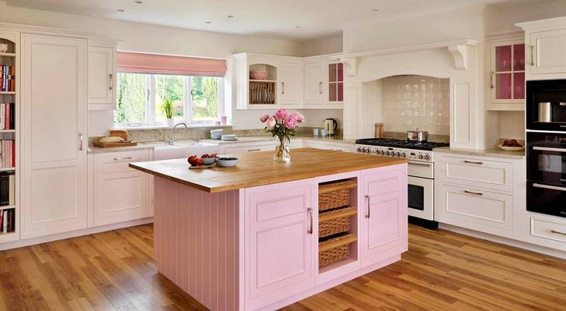 With Pink Kitchen Island