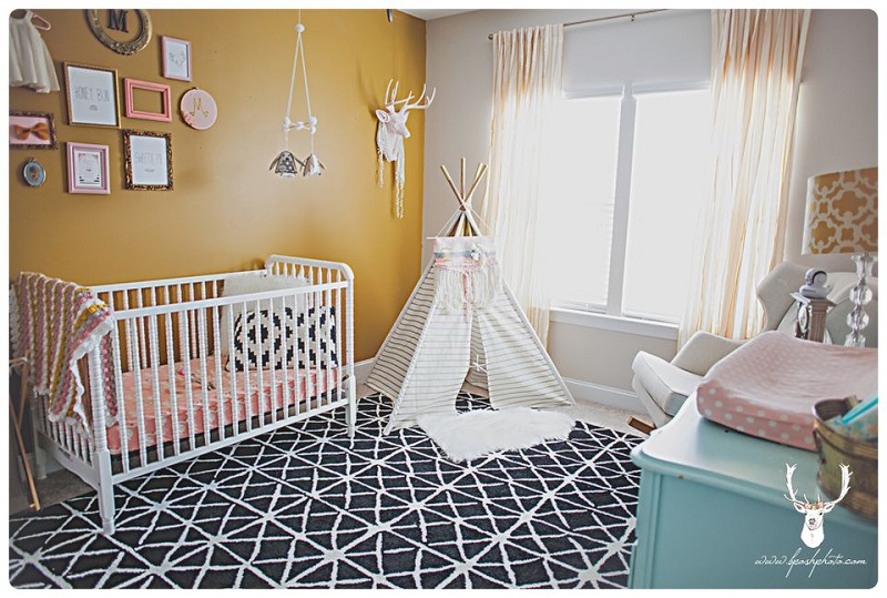 Modern Nursery Space With Yellow