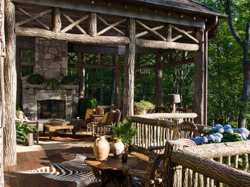 Rustic Patio Done With Logs