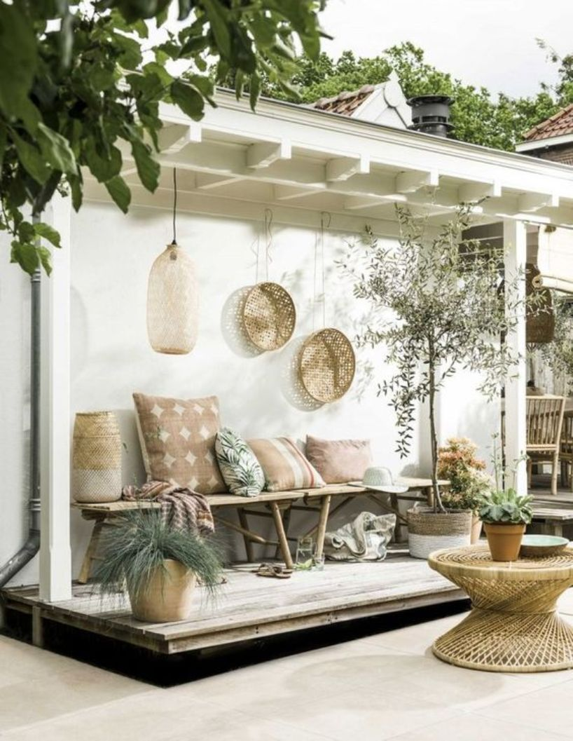 Welcoming Boho Tropical Patio