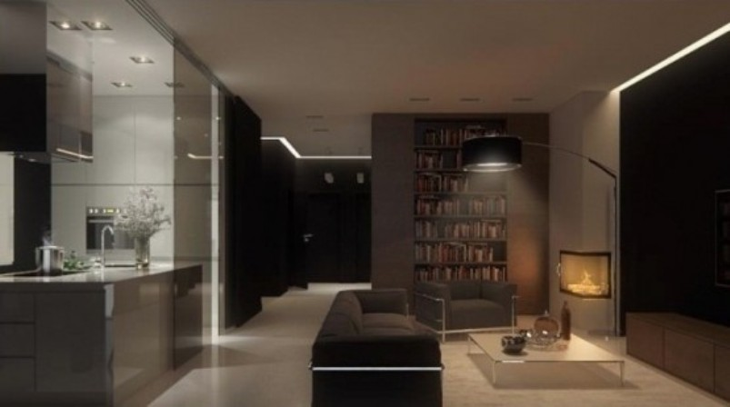 A Minimalist Dark Living Room