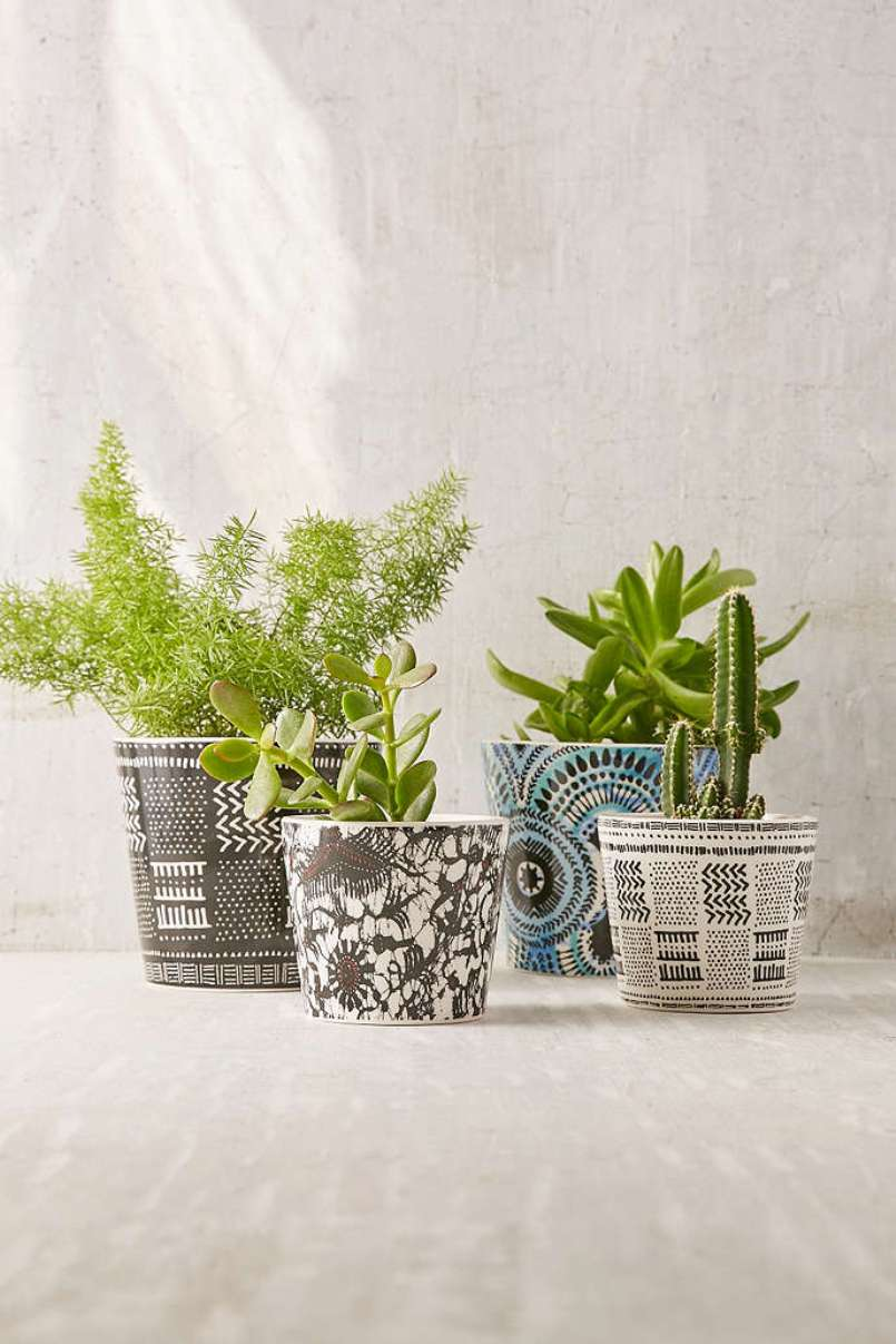 Black And White Patterned Pot