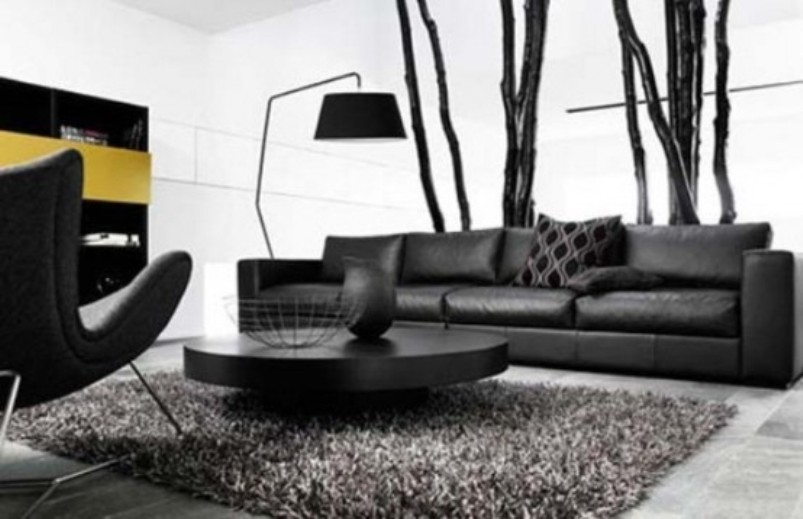 A Minimalist Masculine Living Room With Dark Furniture