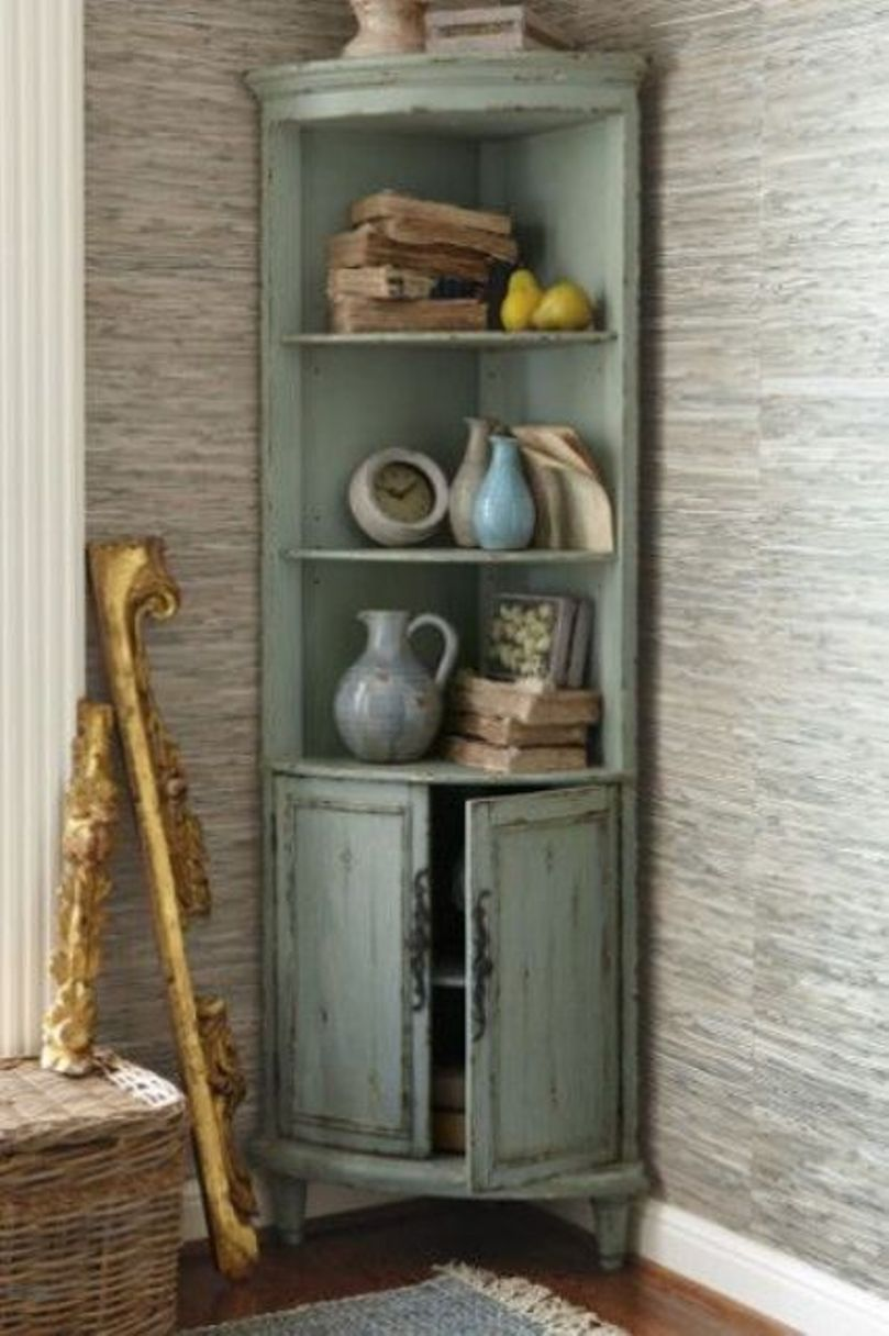Distressed Mint Colored Corner Cabinet