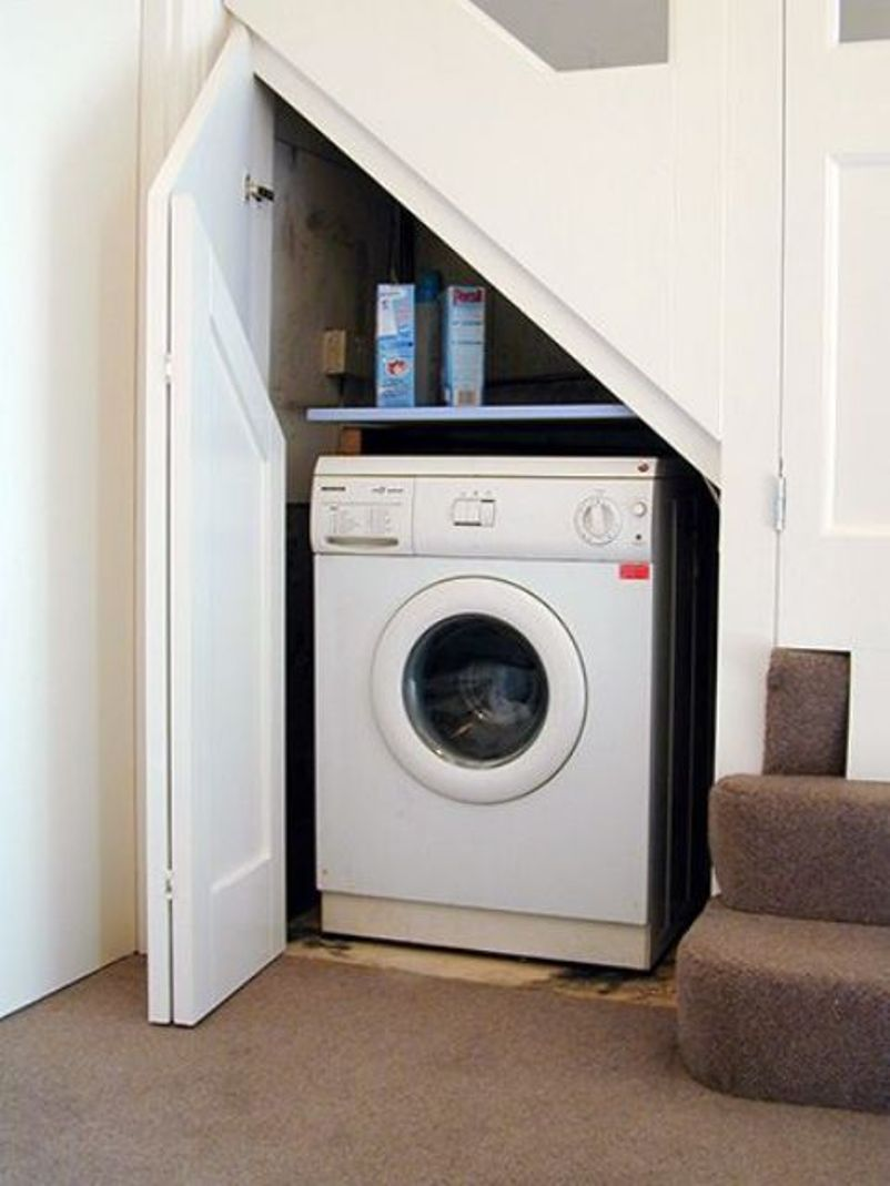 Under Small Staircase For Laundry